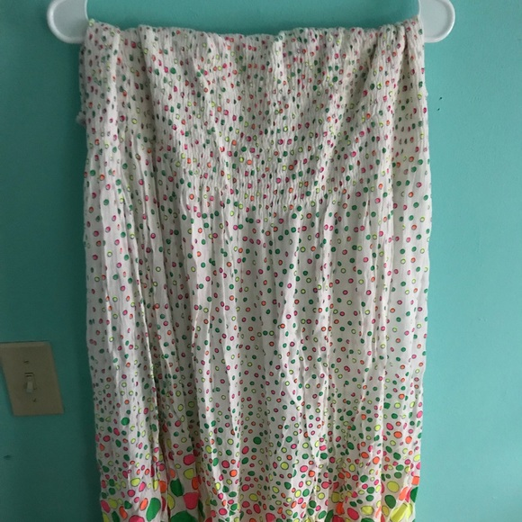 0d4a4a1641 Smocked colored polka dot maxi dress tube top 3x. M 5b37f5599539f7b9af9d2c72